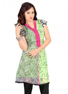 Casual Black and Light Green Polyster Georgette Printed Kurti