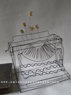 typewriter in wire