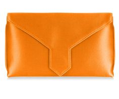 Our classic envelope-shaped clutch bags are available in a rainbow of silks and finished with a jewel-encrusted brooch of your choice. Orange Clutch Bags, Orange Clutches, British Clothing, Bespoke, Silk, How To Make, Silk Sarees