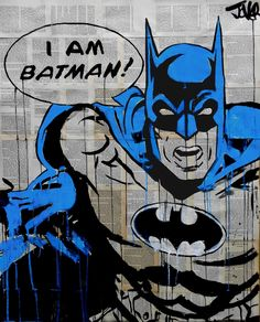 ARTFINDER: I am Batman by Loui Jover - ink and gouache on vintage book pages adhered together.. part of my ''pop icon'' series.