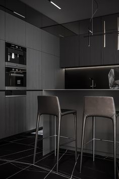 Zen Interiors, Modern Kitchen Interiors, Showroom Interior Design, Dream House Interior, Home Room Design, Apartment Kitchen, Minimalist Interior, Black Decor, Modern House Design