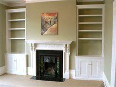 like bookshelves in this odd space on either side of fireplace...