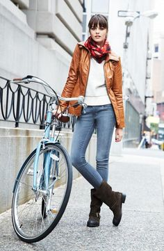 City Bike Style: Leather Jacket, Sweater & Skinny Jeans