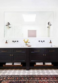 Big Bathroom Ideas Black Vanity Vintage Rug
