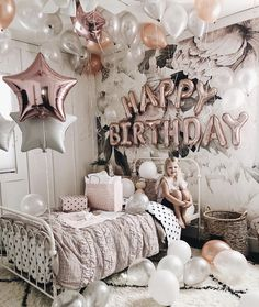 No thats a b-day bash! Look at those lovely rose gold balloons with the white ones.Love the happy birthday ballon garland and the star shaped balloon. 13th Birthday Parties, 14th Birthday, Sweet 16 Birthday, Girl Birthday, Birthday Room Surprise, Birthday Crafts, Birthday Party Decorations, Birthday Ideas, Happy Birthday Decor