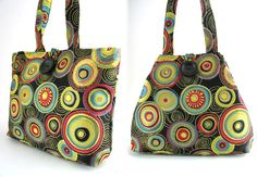 colorful circles tote bag or hobo, art purse, handmade handbag, everyday shoulder bag, diaper bag
