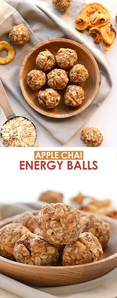 Apple Chai Energy Balls (no bake + GF!) - Fit Foodie Finds Oatmeal Energy Bites, Peanut Butter Energy Bites, No Bake Energy Bites, Healthy Peanut Butter, Energy Balls, Quick Healthy Snacks, Nutritious Snacks, Protein Snacks, Healthy Baking