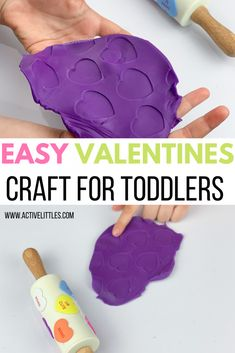 Easy DIY Valentine's Craft for Toddlers - Active Littles Diy Valentine's Crafts For Toddlers, Valentines Day Crafts For Preschoolers, Toddler Valentine Crafts, Valentines Games, Valentines Day Activities, Toddler Crafts, Preschool Crafts, Homemade Playdough, Heart Crafts