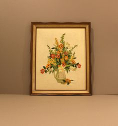 Vintage Floral Embroidery Framed Picture, Mid Century Crewel Embroidered Wall Art, Vintage Large Wood Framed Handmade Needlepoint Wall Art by SophiasWonderland on Etsy https://www.etsy.com/listing/264444887/vintage-floral-embroidery-framed-picture