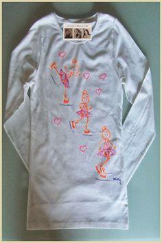 Camiseta personalizada y hecha a mano-hand-made.Patinadora en movimiento