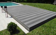 Plancher coulissant qui recouvre votre piscine pour la transformer en espace de loisirs ! #plancher #coulissant #terrasse #mobile #piscine
