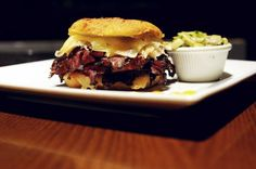 The pastrami knish sandwich at Press 195 in