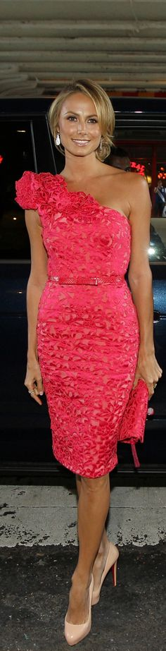 #Stacy_Keibler wearing a #floral one-shouldered knee-length dress with belt and matching clutch