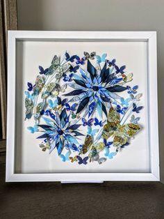 Blue Flower Butterfly Art, Wall Art, Washi Art, Home Decor, Japanese Rice Paper Art, Origami Art, Framed Art, Gift, Free Shipping, 13x13x1 Paper Flower Art, Paper Flowers, Paper Art, Shadow Frame, Japanese Origami, Japanese Rice, Framed Art, Wall Art, Butterfly Art
