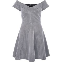 River Island Silver metallic bardot skater dress ($84) ❤ liked on Polyvore featuring dresses, silver, skater dresses, women, silver dress, tall dresses, short sleeve bodycon dress, metallic skater dress and flared skirt
