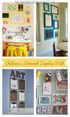Children's Artwork Display WallPlayroom Design: Our Art Room byFun At Home With KidsKids Art Space Updated by Childhood 101DIY Organizing and Decorating Your Schoolroom Series Part 3  by Enchanted homeschooling Mom18 Kid Made Wall Art Ideas by Craftulate