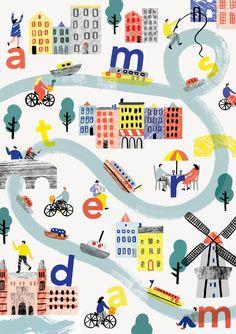 アムステルダムの地図(参考) 英字が入ってユニーク