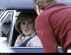 Princess Diana is driven from Guards Polo Club Windsor England July 1983 Stock Photo