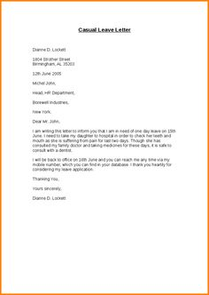 Sample leave of absence letter everything pinterest career advice casual leave application form letter sick format for office semioffice spiritdancerdesigns Choice Image