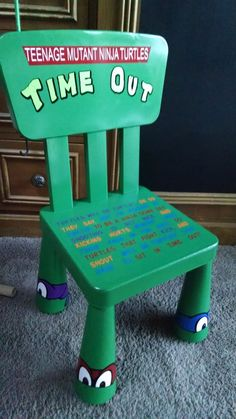 Teenage Mutant Ninja Turtle Time Out Chair by FromMyPaintedHeart on Etsy … Boys Bedroom Sets, Bedroom Ideas, Boy Rooms, Teenage Mutant Ninja Turtles, Time Out Chair, Turtle Time, Turtle Birthday, Kids Furniture, Little Boys