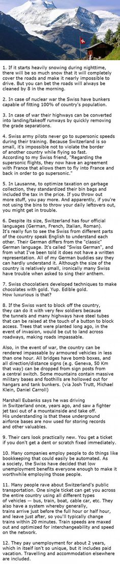 Facts about Switzerland that will blow your mind.