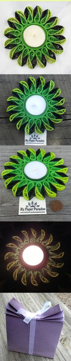 $20 Quilling tealight candle holder - hand-crafted decorative tea light candle holder in shades of green. Candle included. 1 item in stock. Measurements: approx. 5-inch diameter; 1/4 inch height. Shipping: $4 for the US; $9 anywhere else. If you have any questions about the item please send me an e-mail: herpaperparadise@gmail.com