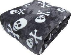 "All Seasons Micro Fleece Cross Bones Skull Plush Throw Blanket Oversized 60 x 70"" Black Grey White Gray Pirate Skull (Grey) Opulence http://www.amazon.com/dp/B01318UBLU/ref=cm_sw_r_pi_dp_ipGVvb0VX0SH2"