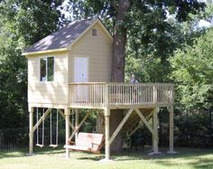 Deck with swings.. I would add a slide & leave top deck open to put table/chairs on.. Mayb a little roof covered area..