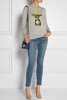 Markus Lupfer Sombrero Chihuahua sequined Light-gray 100% merino wool sweater