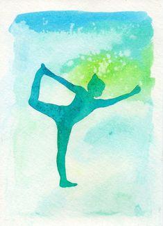Dancer Pose Yoga Silhouette, Watercolor Yoga Pose