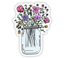 """Mason Jar with Flowers"" Stickers by Ruta Rudminaite Stickers Kawaii, Car Stickers, Laptop Stickers, Planner Stickers, Sticker Ideas, Journal Stickers, Scrapbook Stickers, Frühling Wallpaper, Red Bubble Stickers"