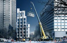 """- New York unveils micro apartment design - The modular """"building, located in Manhattan, will consist of 55 apartments that measure between 250 and 370 square feet. Forty percent of the units will also be priced at """"affordable"""" rates below market value. Micro Apartment, Tiny Apartments, Apartment Design, York Apartment, Brooklyn Apartment, Apartment Projects, Appartement New York, Manhattan, Sustainable Architecture"""