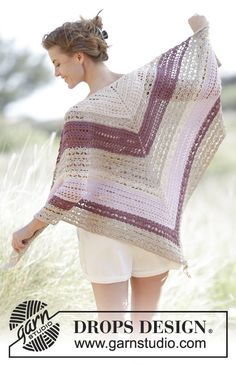 Drops 167-27, Crochet shawl with fans and lace pattern in Cotton Viscose