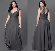 Chiffon Dress Prom Open Back Lace Floor Length Plus Size Prom Specific Occasion Dresses Cheap Sleeveless Deep V Neck High Quality Formal