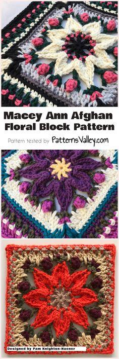 Macey Ann Afghan Floral Block Pattern #afghanblock #crochetpattern #crochet