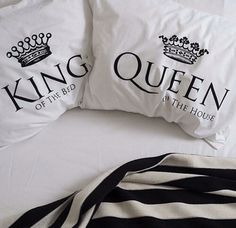 King of the Bed, Queen of the House pillows.. couples pillows