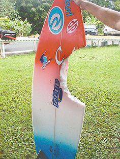 Bethany Hamilton surf board after shark attack