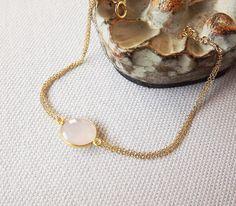 Gemdrop Rose Quartz Bezel Set Dainty Gold Filled Bracelet - Bezel Set Bracelet - Rose Quartz Jewelry. $39.00, via Etsy.