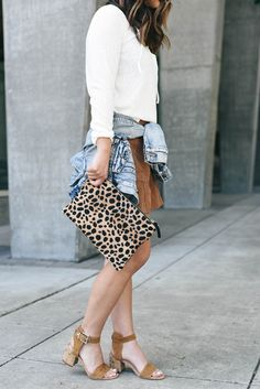 Pair your favorite block heels with a great skirt!