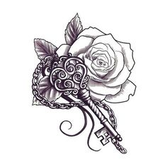 "You hold the key to someone's heart…but whose? This artistic Key and Flower tattoo design is mysterious and temporary! Sheet Size: 1.5"" x 2"" - Lasts 5-7 days even with swimming and bathing! - Easy to"