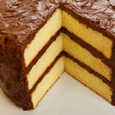 This page contains homemade yellow cake recipes. Many people like yellow cake. You don't have to buy it in a box, you can easily make yellow cake from scratch. Also includes how to make your own cake flour. Layer Cake Recipes, Homemade Cake Recipes, Cake Mix Recipes, Baking Recipes, Dessert Recipes, Yellow Cake Recipes, Homemade Yellow Cakes, Yellow Cake Recipe With Cake Flour, Cake Flour Recipe