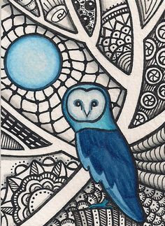 ACEO - Blue Owl Zentangle - Original Art