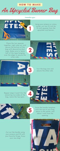 How to make a cool tote bag from an old vinyl banner Student Crafts, Pvc Banner, Bag Quotes, How To Make Banners, Activities For Teens, Outdoor Banners, Vinyl Banners, Craft Show Ideas, Used Vinyl