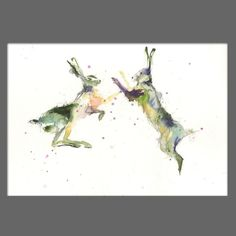 JEN BUCKLEY signed LIMITED EDITON PRINT of original boxing HARES watercolour