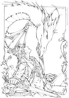 Eragon & Saphira colouring in | no one knows how long i have been searching for this.