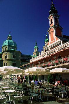 Cafè Glockenspiel  in  Salzburg, Austria  right opposite the Mozart statue , beautiful view !!!