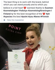 pHformula's POINT peptide wins the KOSMETOLOGI-SKY'S BEST PRICE award in Finland. Our sincere appreciation goes to the Association of Finnish Beauty Therapists for the award - Thank you!  #phformula #phformulafinland #innovation #award #soproud Finland, Appreciation, Innovation, Awards, Good Things, Beauty, Beleza