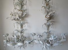Cherub tole sconces wall hanging candle holders French blue white distressed tall elegant angel candelabras home decor anita spero design Sold