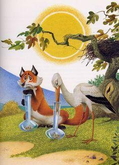 """Illustrazione di Severino Baraldi per la favola """"La volpe e la cicogna"""". Adoro lo stile delle sue illustrazioni, che sono delle vere e proprie opere d'arte."""