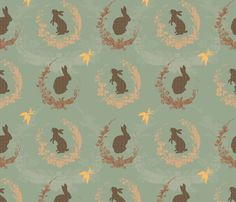 Jade moon rabbit fabric in duck egg blue by Spoonflower. Would make cute curtains for in the nursery